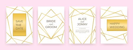 Luxury wedding line posters. Golden fashion borders design, modern invitation cards abstract decoration. Vector trendy banners with decorations golden frame on pink backgrounds