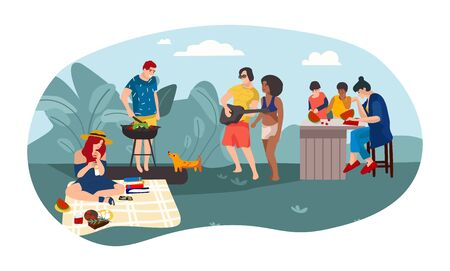 Summer people BBQ. Cartoon parents and children spending time together picnic girl party. Vector illustration friends summer activities outdoors background Фото со стока - 127738141