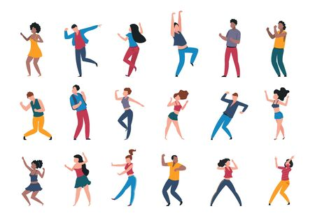 Dancing people. Trendy party cartoon crowd, modern young dancing characters, friends couples and happy persons. Vector illustrations club party dance Фото со стока - 127740193