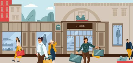 Shopping people. Trendy cartoon characters at fashion boutique, city street scene with clothing outlets. Vector illustration flat customers outside mall set