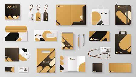 Set of corporate identity branding mockup. Realistic office stationery branding business card letter envelope mug brand brochure cover. Vector mock up image corporative it branding