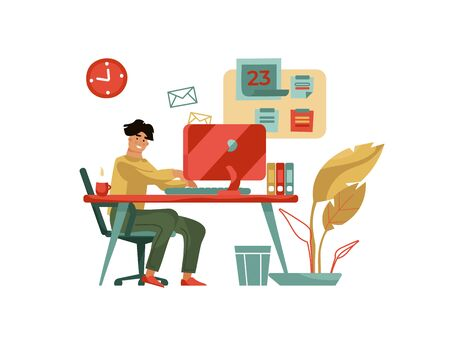 Character working at computer. Trendy modern scene with creative man professional with laptop at home or cafe. Vector cartoon happy young designer freelance 版權商用圖片 - 130830968