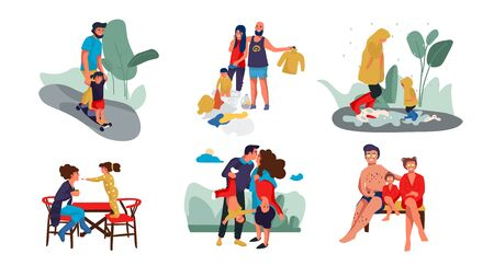 Family scenes. Happy parents and children trendy cartoon characters spending time together at home and outdoor. Vector set image nurturing and education kid happy parents
