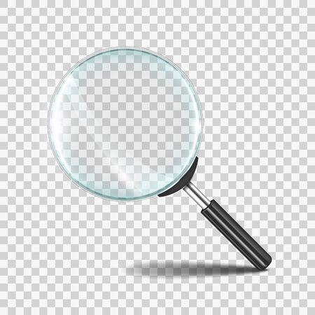 Loupe. Icône d'objectif zoom réaliste avec verre transparent, concept 3D de loupe de recherche. Symbole de l'outil de recherche zoom loupe de vecteur