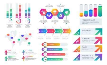 Chart elements. Business presentation graph layout, corporate report timeline with bars and diagrams. Vector financial infographic structures flow info set for working concept Иллюстрация
