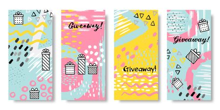 Giveaway banners. Social media sale post and give away action template, share and refer friends concept. Vector gift box banner set