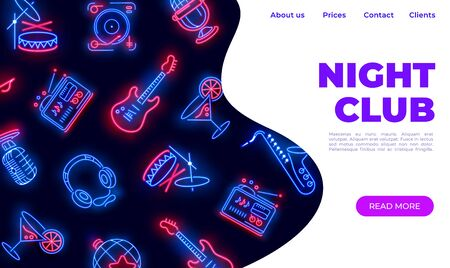 Neon night club landing. Dance music karaoke bar web page with black background. Vector illustration glowing night party website concept