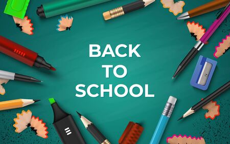 Back to school background. Realistic stationery on chalkboard, pen pencil brush and marker. Vector 3D school educational poster with color design elements