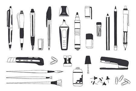 Hand drawn stationery. Doodle pen pencil and paintbrush tools, school and office accessories sketch. Vector illustrations sketch stationery set for calligraphy or office work Фото со стока - 128007759