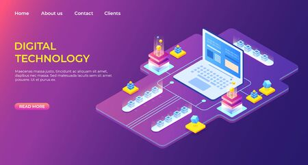 Isometric digital technology landing page. Business success. Computer monitor with infographic elements. Design for presentation. High detailed vector illustration
