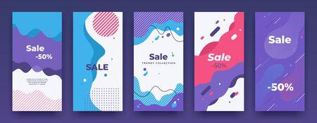 Social media banner. Story sale swipe up template, sale price vertical poster pack, mobile app promo. Vector store promo offer illustration landing frame set Иллюстрация
