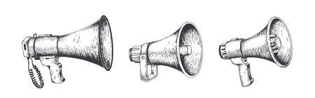 Vintage Megaphon. Handgezeichneter Lautsprecher für Ankündigungen, Megaphon-Skizzennachrichten oder öffentliche Aufmerksamkeit. Vektor-Lautsprecher-Broadcast-Ankündigungsset Vektorgrafik