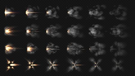 Gun flash effects. Realistic special effects steps of smoke clouds and shotgun fire, muzzle flash and explode. Vector illustration isolated set concept firing on transparent background Фото со стока - 128325878