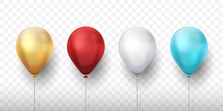 Realistic balloons. 3D holiday party elements for invitation cards and banners, decoration design templates. Vector birthday set red blue gold white on transparent background