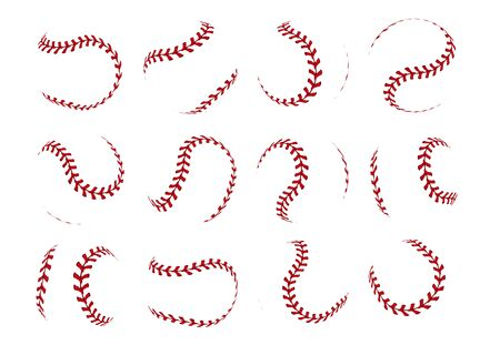 Baseball ball lace. Realistic softball stroke lines for sport logo and banners. Vector set isolated illustration thread lacing seam on white background