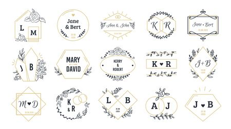 Wedding. Bohemian monograms for event invitation and wedding greeting cards with hand drawn elements. Vector set minimalist image name couple people
