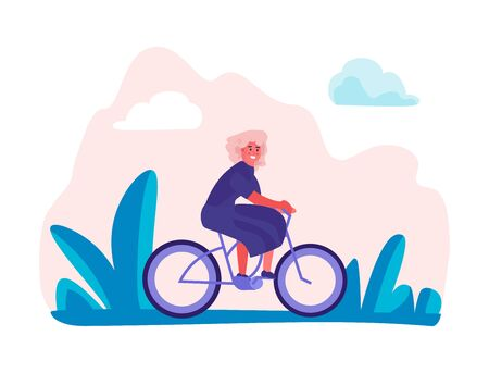 Woman riding bicycles in park. Female holiday trip, trendy enjoyment cartoon characters doing sport activitie. Vector happy girls in summer rides on bike Фото со стока - 128325952