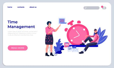 Time management landing page. Productivity improvement website and successfully organizing work web page. Vector technology modern digital stopwatch for optimizing workflow Иллюстрация