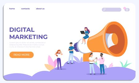 Digital marketing landing page. Specialists working on business analysis. Vector illustrations modern website design template for customization advertise business