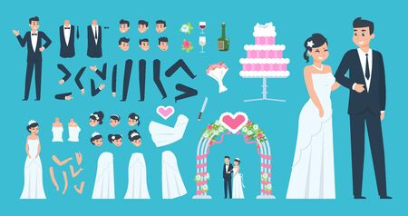 Groom and bride kit. Cartoon wedding characters constructor, bride and groom body elements. Vector wedding celebration happy young couple set Фото со стока - 128326061