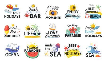 Autocollants dessinés à la main sur la plage. Étiquettes de vacances d'été avec lettrage et éléments tropicaux, vagues de soleil et glaces. Logos plats de vacances nature vectorielles pour le marketing de voyage Logo