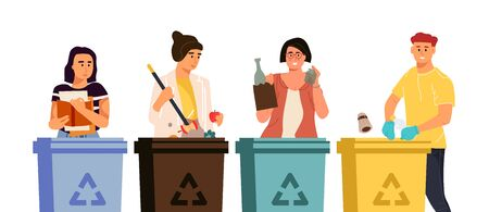 Recycling characters. Cartoon men and women putting trash in different containers, garbage sorting concept. Vector illustrations global eco recycling waste Иллюстрация