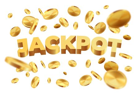 Jackpot with golden coins. Realistic jackpot yellow money rain. Vector illustration 3D falling gold sign luck on white background