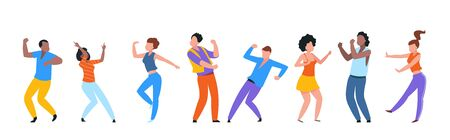 Dancing people. Happy trendy men, women dancers, group of happy young people enjoying dance. Vector illustrations modern party isolated set with guy and girl together entertainment on white background Stock Illustratie