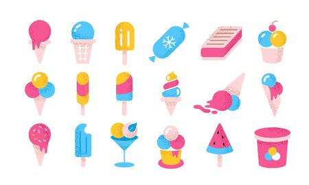 Ice cream flat icons. Cartoon frozen yoghurt and creams in cones cups and buckets. Vector illustration summer tasty cold soft vanilla dessert on white background