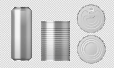 Metal tin can. Realistic food packages blank cylinder templates, aluminum conserved boxes with different views. Vector isolated illustration packaging set Иллюстрация