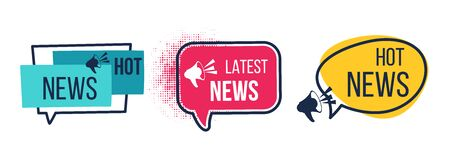 News badges. Daily hot latest and breaking news banners, newspapers and magazines announcement labels. Vector image flat headline promotions with icon megaphone Иллюстрация