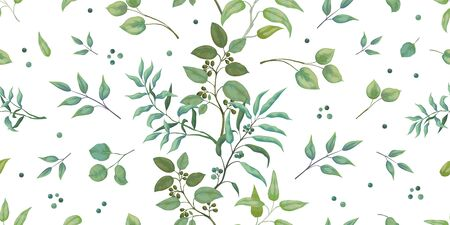 Greenery pattern. Eucalyptus seamless wedding print of leaves and branches, trendy botanical drawing on white background. Vector illustrations elegant seamless foliage