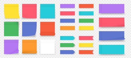 Plakbriefjes. Papier gekleurde vierkante herinneringen geïsoleerd op transparante achtergrond, lege notebookpagina. Vectorillustratie leeg kleurrijk kleverig document blad om nota in bureau te doen
