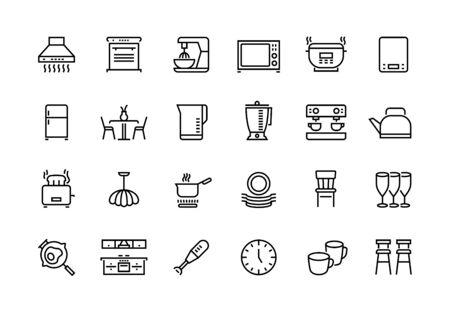 Kitchen line icons. Furniture appliances and utensils for kitchen, microwave toaster fridge blender pictograms. Vector illustration simple cooking tool set Иллюстрация