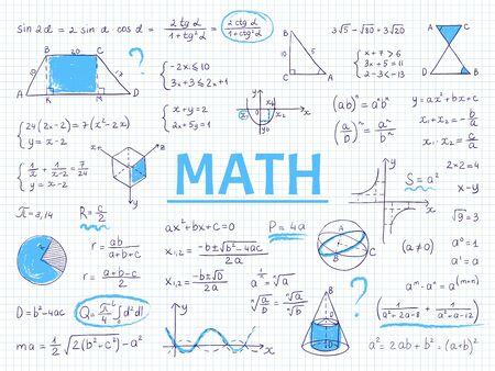 Matemáticas de Doodle. Ecuación y gráficos de la escuela de álgebra y geometría, fórmulas de ciencia física dibujadas a mano. Dibujo de educación de fórmulas de imagen vectorial para la tarea del estudiante