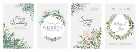 Wedding greenery posters. Green floral frame cards, trendy plants wreath and borders, vintage rustic elements. Vector illustration minimalistic bohemian cards for invitation template