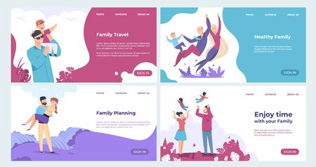 Family landing page. Insurance and family safety web page with cartoon characters, parents and children set. Vector business template design enjoying actively life for web banner Иллюстрация
