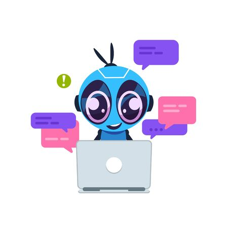 Chat bot. Cute cartoon robot with artificial intelligence, personal assistant and virtual support service concept. Vector illustration customer help center