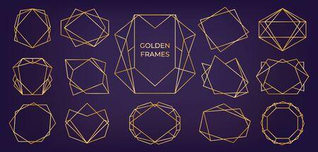 Golden geometric frame. Wedding and birthday invitation cards line polyhedron elements, modern art deco abstract borders. Vector set modern illustration invites frames various shape