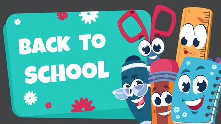 School characters background. Educational poster with happy school stationery for kids. Vector illustration funny banner with book and pencil and object other elements stationery