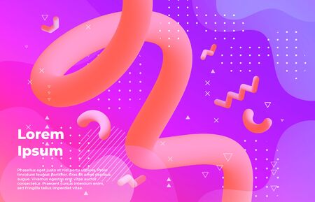 Abstract background. Futuristic vibrant banner with modern geometric shapes, music poster design template. Vector 3d commercial cosmetic futurist flyers for journal