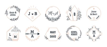 Wedding monograms. Bohemian hand drawn floral and polygonal elements for invitation and greeting cards. Vector illustration boutique simple minimalist wreath set Illustration