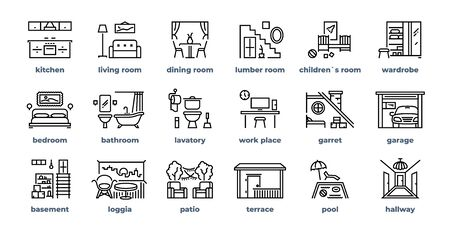 Home rooms line icons. Living room bedroom kitchen bathroom simple outline flat pictograms. Vector design home interior furniture set
