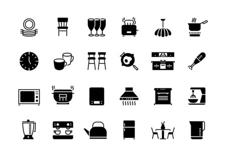 Kitchen black icons. Appliances furniture and utensils for cooking, blender microwave fridge electronic devices. Vector isolated kitchen machine symbol set Иллюстрация