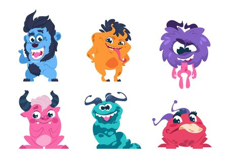 Cartoon monsters. Funny and scary trolls ghosts goblins and aliens with cute faces, cute isolated characters. Vector icon little yelling animal set