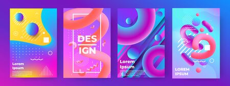 Abstract poster. Memphis geometric banners with minimal gradient shapes and liquid elements. Vector trendy design illustration future modern music flyer set