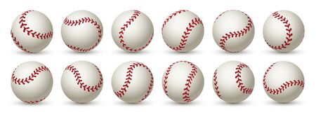 Realistic baseball ball. Leather 3D softball white ball mockup design with red lace. Vector isolated graphic template balls in flight set Иллюстрация