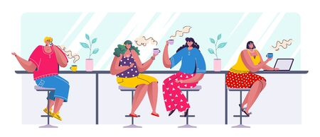 People drinking coffee. Cartoon trendy characters sitting in row drinking speaking and working at laptop. Vector illustrations cafe scene with business lifestyle young woman meeting friends in bar