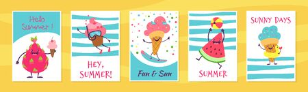 Summer cute cards. Cute doodle cupcake and ice cream characters with funny faces on posters and greeting cards. Vector banners fun freshness fruit and ice-cream on sea beach