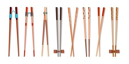 Food chopsticks. Realistic 3D bamboo sticks for Asian food, traditional Chinese and Japanese cutlery. Vector isolated wood colorful utensils set in traditions of east Иллюстрация